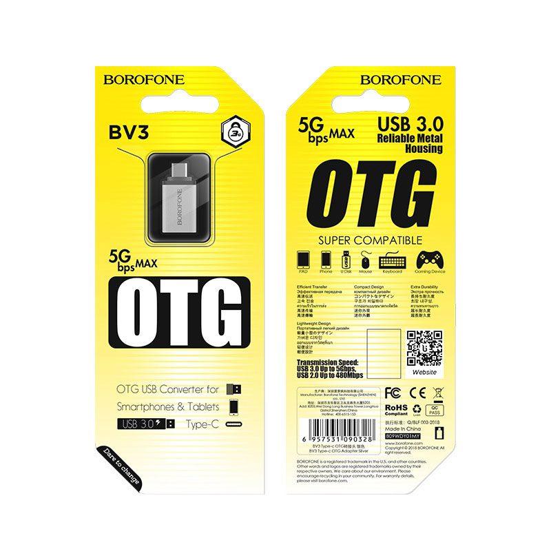 borofone bv3 usb to type c otg adapter package