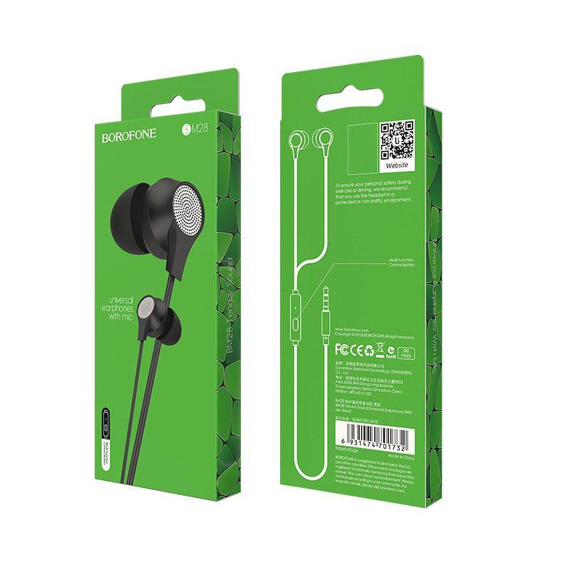 borofone bm28 tender sound universal earphones with mic package black