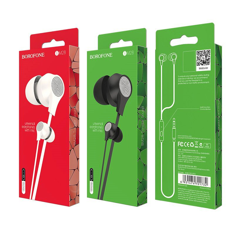 borofone bm28 tender sound universal earphones with mic packages