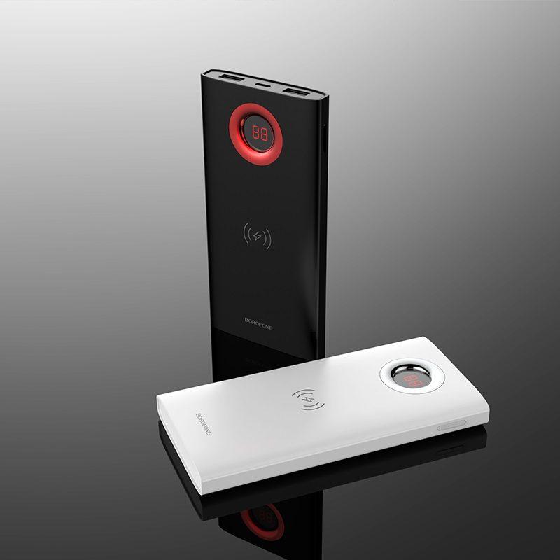 borofone bt16 airpower wireless charging power bank 10000mah black white
