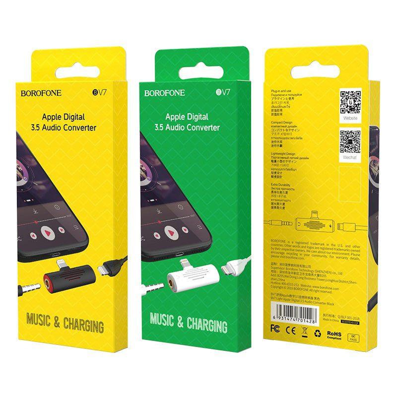 borofone bv7 light lightning digital 3 5mm audio converter package