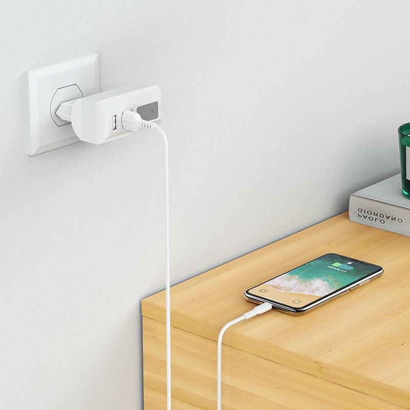 borofone ba44a sage power dual port wall charger eu wireless speaker charging