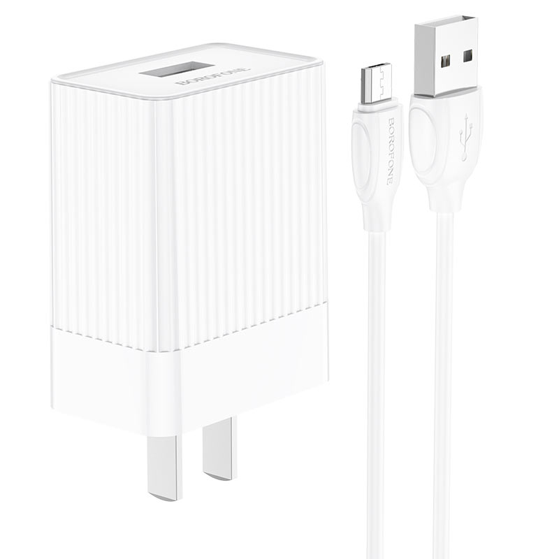 borofone ba47 mighty speed single port qc3 wall charger us set with micro usb cable overview