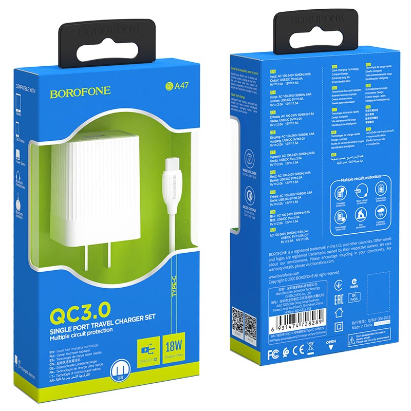 borofone ba47 mighty speed single port qc3 wall charger us set with usb с cable packages