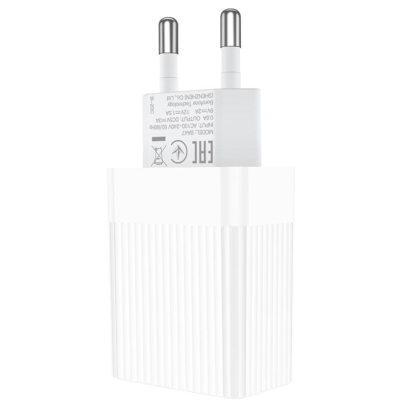 borofone ba47a mighty speed single port qc3 wall charger eu plug