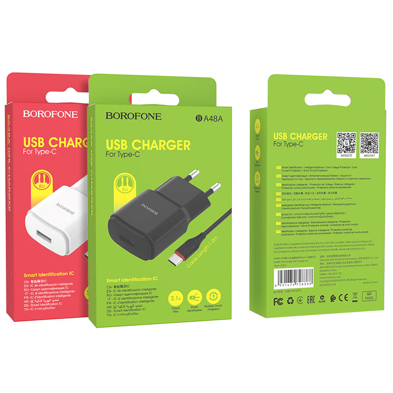 borofone ba48a orion single port wall charger set with usb c cable packages