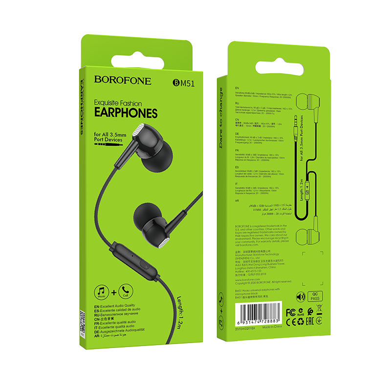 borofone bm51 hoary universal earphones with microphone package front back black