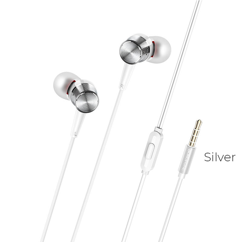 borofone bm52 revering wired earphones with microphone silver
