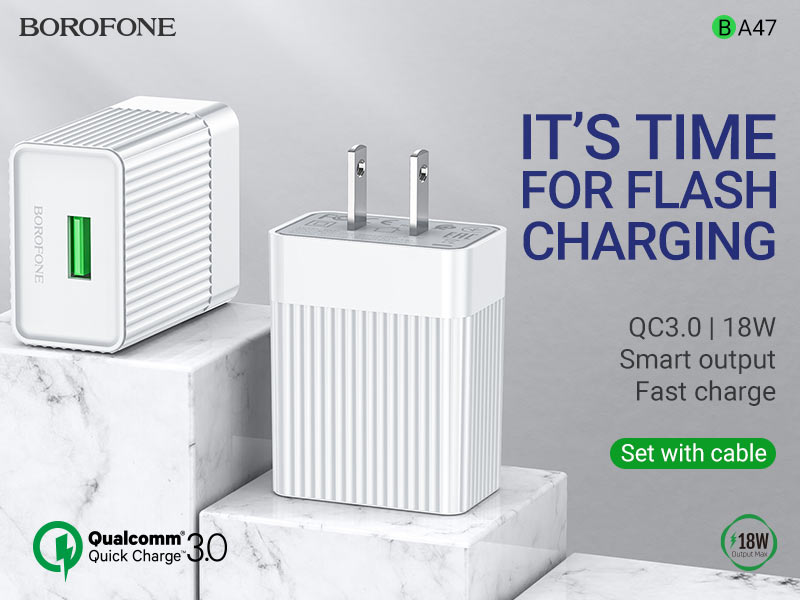 borofone news ba47 mighty speed single port qc3 wall charger us banner en