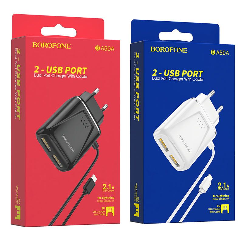 borofone ba50a beneficence dual port wall charger with lightning cable packages