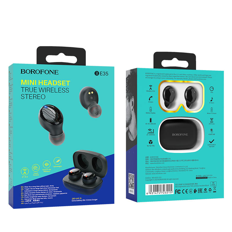 borofone be35 agreeable voice tws wireless headset package