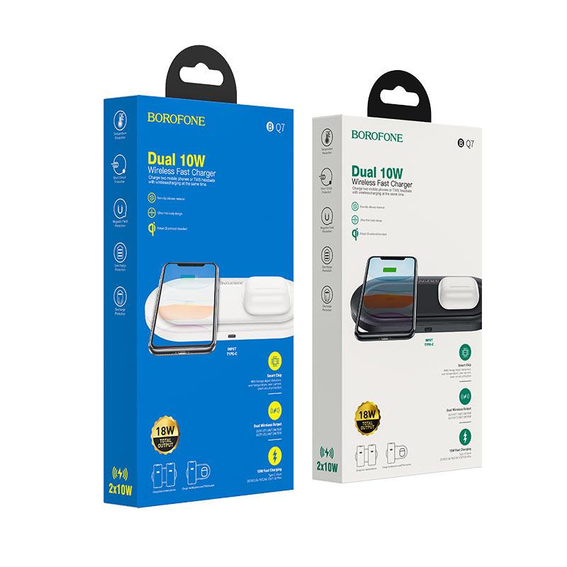 borofone bq7 prominent dual 10w wireless fast charger packages