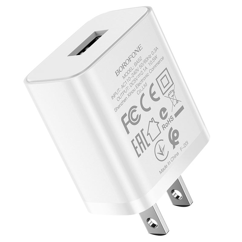 borofone ba52 gamble single port wall charger us plug specs