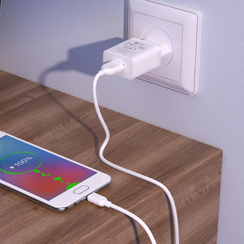 borofone ba52a gamble single port wall charger eu plug micro usb set overview