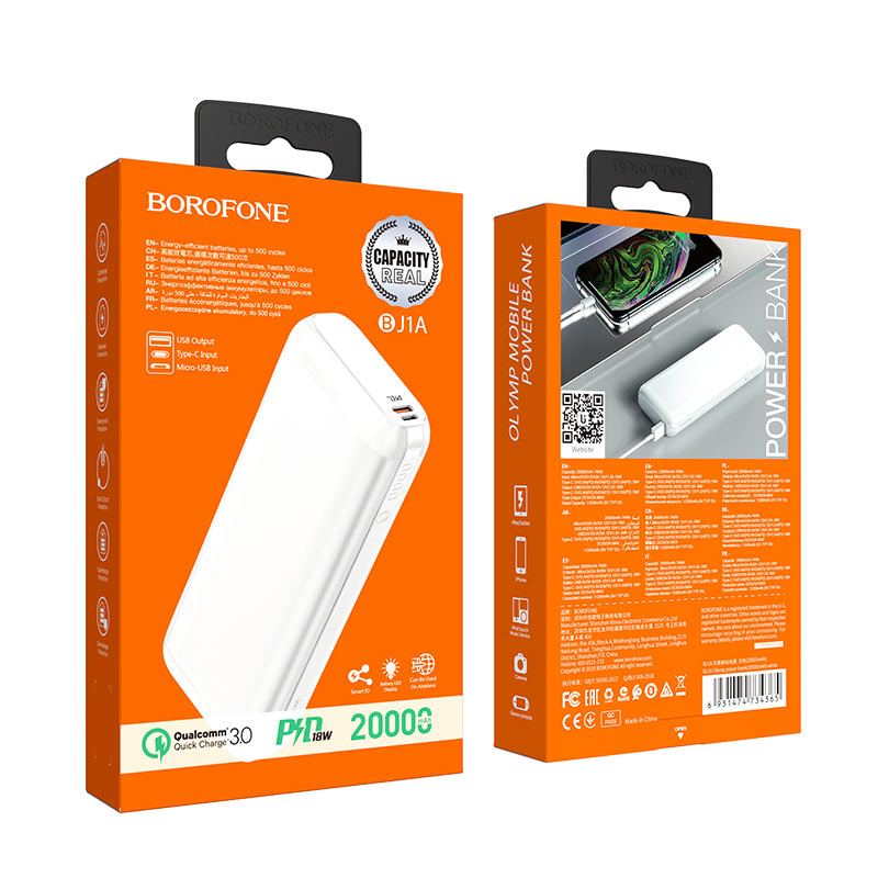 borofone bj1a pd qc3.0 olymp power bank 20000mah package white
