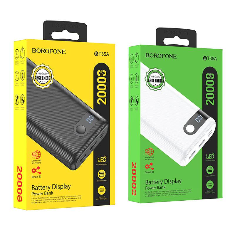 borofone bt35a smart force портативный аккумулятор с дисплеем 20000mah упаковка