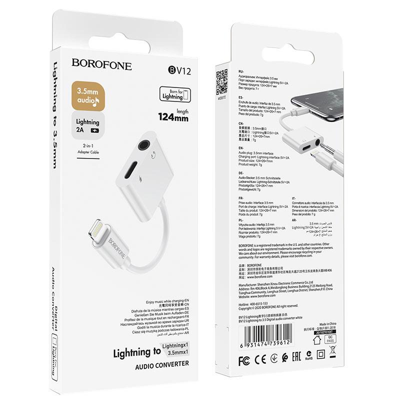 borofone bv12 lightning to 3 5 digital audio converter package