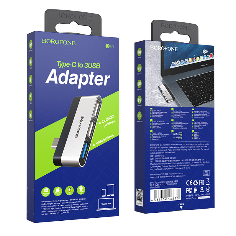 borofone dh1 usb c to usb adapter package